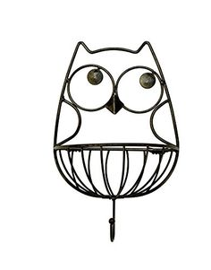 Wall Hanging Owl Metal Basket Hook * Check this awesome product by going to the link at the image. Note:It is Affiliate Link to Amazon.