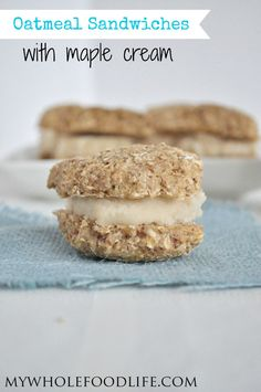 Oatmeal Cream Pies made healthier.  These contain NO oil and NO refined sugars.  The maple cream is to die for!  A must try.  #vegan #glutenfree #healthyrecipe #cookies