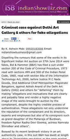 Criminal case against Delhi Art Gallery & others for 'fake allegations' - 19th March 2015, Indian Showbiz.com