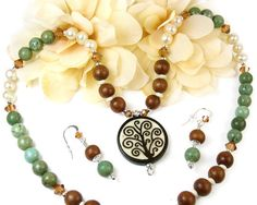 Tree of Life Necklace, Green Turquoise Necklace, Gemstone Pearl Necklace, Beaded Jewelry Set Matching Earrings, Boho Unique Woodland Jewelry
