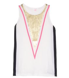 Multicoloured geometric cotton gold sequin embellished front panel sleeveless top. Material: 100% cotton; 100% polyester, hand wash. #Matchesfashion