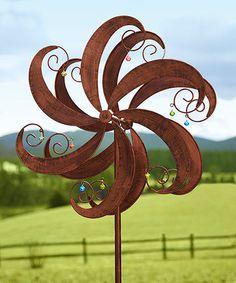 Superior Copper Jingle Scroll Wind Spinner Kinetic Garden Stake #zulilyfinds