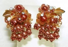 Vintage BEAU JEWELS Layered Faux Pearl Rhinestone Beaded Gold Plated Clip Earrings