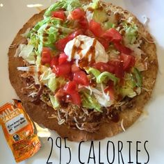 Fit Mama to 3: Taco Bell Chicken Tostada 295 calories.  Healthy eating.