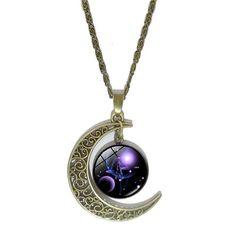 Family Decor 12 Constellations Aquarius Pendant Necklace Cabochon Glass Vintage Bronze Chain Necklace Jewelry Handmade