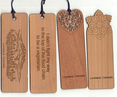 Laser Engraved Cherry wood custom bookmarks  by Lasercrafters