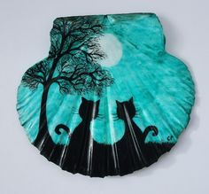 #Cat Painting on #Shell, Cat #Gift, Cat Shell Painting, #Black Cats #Moon Tree Art £15.00