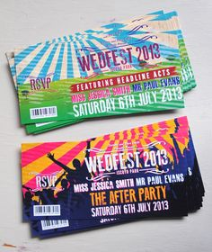 ticket stubs, concert tickets, getting married, festival style, party invitations, wedding invitations, festival wedding, music festivals, theme weddings