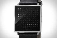 "The Qlocktwo Watch (roughly $725) features a uniform grid of 110 letters, which it uses to display phrases like ""It is half past nine"" whenever you press the side-mounted stainless steel button. Other features include a square brushed stainless steel casing in natural or black, the ability to show the calendar day or seconds — with two and three presses of the single button, respectively — and a rubber or leather strap."