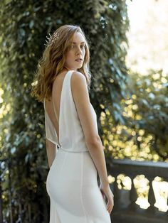 772610acc983e Etsy Sophisticated Silk Bridal Gown   Ivory Boat-Neck Wedding Dress   Silk  Open Back
