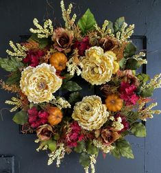 Fall Wreaths Front Door Wreath Fall Berry Wreath Pumpkin Wreath Fall Peony Wreath Hydrangea Wreath Bronze Roses Large Fall Wreath Gorgeous Fall Wreath by WaysideFlorals Diy Fall Wreath, Autumn Wreaths, Spring Wreaths, Fall Diy, Wreath Ideas, Summer Wreath, Holiday Wreaths, Holiday Decorations, Wreaths For Front Door