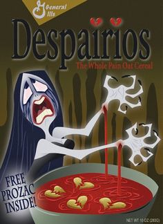 """Despairios, The Whole Pain Oat Cereal"" Funny Horror, Horror Films, Horror Art, Horror Icons, Halloween Movies, Halloween Art, Halloween Humor, Halloween 2018, Halloween Stuff"