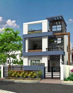 Modern duplex house exterior elevation in 90m2 10m x 09m for 10m frontage home designs brisbane