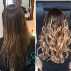 Balayage for brown hair and extensions for length and volume. Brown hair with Carmel ribbon Balayage