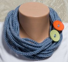 BLUE Chain Scarf Crochet hand made scarf  Autumn by ozlemdesign, $16.90