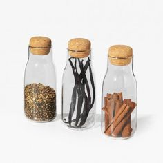 Bottlit Spice Containers | Unison | Your morning cup of juice just outclassed your evening glass of wine. Designed in Japan, these cork-sealed glass containers are practically perfect for storing and serving your go-to beverages.