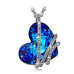 6b0ee1ec9 Qianse Heart of the Ocean Swarovski Crystal Pendant Necklace Swarovski  Crystal Necklace, Crystal Pendant,