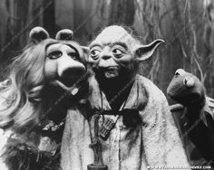 The look Yoda is giving Piggy! Both voiced by Frank Oz!
