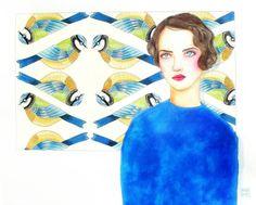 Jeune femme aux mésanges bleues. Aquarelle par WatercolorRosedraft