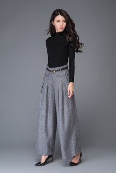 light grey pant wool pant winter pant wide leg pant por YL1dress