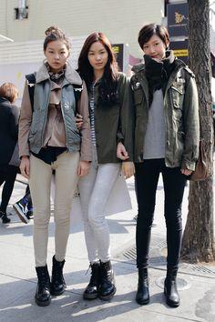 Seoul street fashion, love all 3 outfits