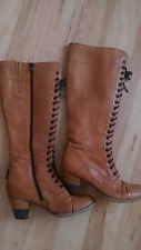 knee high lace up brown leather boots brogue Victorian style jones size 5 ~ Darn ZIPPER!!
