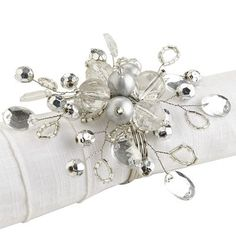 Silver Beaded Napkin Ring/ 6 napkin rings