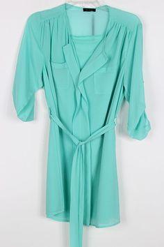 Ashley Shirt Tunic in Mint Turquoise