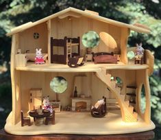 Wooden Fairy-tale illuminated Dollhouse with Fireplace & Red-wood Furniture Eco Friendly Forest Creatures Scale Handmade Christmas gift, , Wooden Dollhouse, Dollhouse Furniture, Cabin Dollhouse, Miniature Dollhouse, Furniture Making, Wood Furniture, Family Furniture, Danish Furniture, Montessori