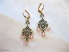 Delicate Pink Crystals, Antiqued Gold Filigree, Victorian Chandelier Earrings. $9.00, via Etsy.