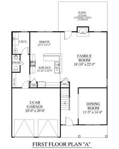 House plan 1883 a hartwell first floor plan 1883 square for 2 car deep garage