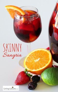 Delicious and Easy Skinny The BEST Skinny Sangria Recipe! Simple party drink idea that is low carb. Watch your weight and have fun too. A great fruity cocktail that's not too sweet for the wine lover! Perfect recipe to serve at any party or event. LivingLocurto.com  substitute sprite for sparkling water. Make it even better.