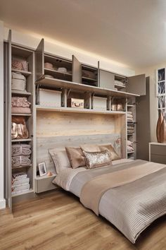 Bedroom wall: Over Bed Storage in 2019 Fitted bedrooms, Fitted bedroom furniture, Small bedroom storage Small Bedroom Storage, Small Master Bedroom, Small Bedroom Designs, Bed Storage, Design Bedroom, Cupboard Design For Bedroom, Small Basement Bedroom, Bedroom Colors, Headboards With Storage