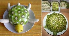 Playing with food :: Time to Try This Yummy and Healthy Turtle & banana Fruit Cake Banana Fruit, Perfect Party, Caramel Apples, Turtle, Kiwi, Paleo, Healthy, Ethnic Recipes, Desserts