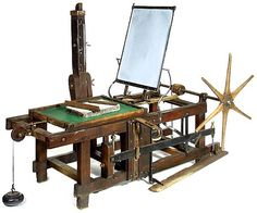 Lithography machine used by Henri de Toulouse Lautrec's time, you should notice the limstone in the center of the press