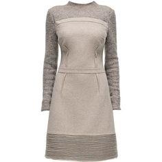 LATTORI Poise, Tight Waist, Long Sleeve, Beige Dress