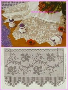 So many patterns and they're all beautiful 1 filet crochet Crochet Lace Edging, Crochet Motifs, Crochet Borders, Crochet Cross, Crochet Home, Thread Crochet, Knit Or Crochet, Crochet Doilies, Crochet Stitches