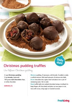 Half the fun of #Christmas is the prepping of all the really #yummy food. Just be warned: you'll want to munch on these Christmas pudding #truffles while you're making them (so be sure to make extra!).#recipe #dailydish #picknpay