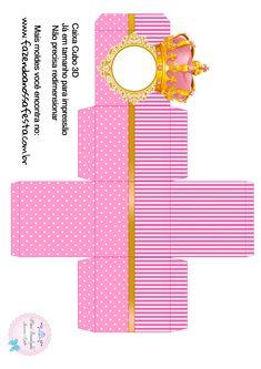 Caixa Cubo 3D Coroa Princesa Princess Theme Birthday, Disney Princess Party, Baby Birthday, Minion Birthday Invitations, Baby Invitations, Box Templates Printable Free, Baby Box, Ramadan Decorations, Doll Party