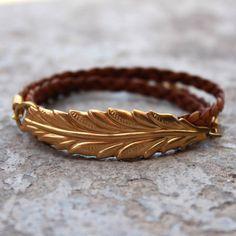 Vintage leaf genuine braided leather wrap bracelet by lovepray