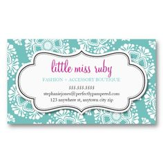 BUSINESS CARD floral silhouette pattern turquoise.  A fresh and modern design for your company or personal social networking / calling card.  Setup as a template you change the details yourself - too easy =)  More colors and designs in store... #businesscardtemplates  #modernbusinesscards #trendybusinesscards #personalizedbusinesscards