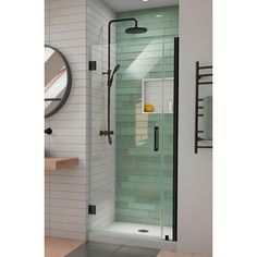 DreamLine Unidoor-LS x Hinged Frameless Shower Door with ClearMax Technology Finish: Bronze Small Walkin Shower, Small Bathroom With Shower, Small Showers, Bathroom Ideas, Shower Ideas, Small Shower Stalls, Small Shower Remodel, Bathroom Trends, Bathroom Layout