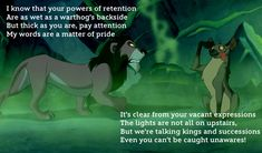 "Speaking of being prepared, all of Scar's signature tune, ""Be Prepared"" is one giant best Disney song lyric. His vocabulary and use of not-so-subtle burns on his hyena cohorts is totally impressive, particularly when he just really lays into poor Ed's brain powers (or lack thereof). Also, note the pun on ""pride."""