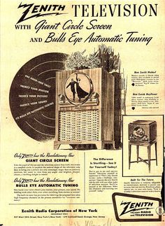 """Vintage Zenith Radio Corporation Ad - 1949 I knew a guy who had one of these when I first came down to Minneapolis in That """"Giant Circle"""" was all of eight inches across. Retro Advertising, Retro Ads, Advertising Poster, Vintage Advertisements, Vintage Tv, Vintage Signs, Vintage Posters, Radios, Vintage Television"""