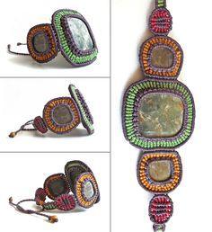 SANAM - Pokhara Stone Bracelet Macrame Rings, Macrame Necklace, Macrame Jewelry, Macrame Bracelets, Stone Jewelry, Diy Jewelry, Textile Jewelry, Micro Macramé, Simple Bracelets