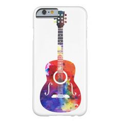 Rainbow Watercolor Guitar | Barely There Case for iPhone 6/6S Plus, iPhone 6/6S, iPhone 5/5S, iPhone 5C, iPhone 4,iPhone 3G/3GS