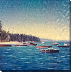 Wooden Boats Painting Print on Wrapped Canvas