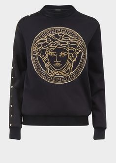 Medusa Sweatshirt from Versace Women's Collection. Medusa neoprene sweatshirt with gold Medusa embroidery on the front and Medusa studs along one shoulder and sleeve. Versace T-shirt, Versace Logo, Versace Tattoo, Haute Couture Outfits, Embroidered Sweatshirts, Camisa Polo, En Stock, Mens Sweatshirts, Medusa