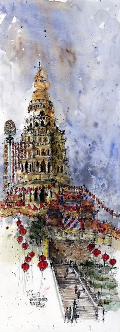 Chinese ink and watercolour sketch by Kiah Kiean