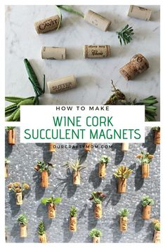 Save those wine corks and turn them into adorable DIY wine cork succulent magnets with this simple how-to. Save those wine corks and turn them into adorable DIY wine cork succulent magnets with this simple how-to. Wine Cork Projects, Wine Cork Crafts, Wine Bottle Crafts, Bottle Art, Wine Bottles, Diy Magnets, Diy Plant Stand, Easy Diy Crafts, Gift Crafts